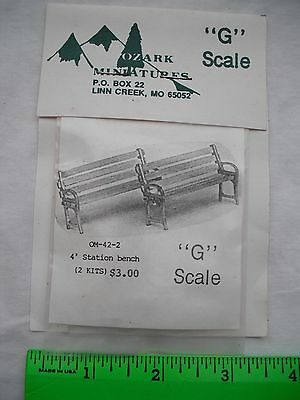 Ozark Miniatures OM-42-2, 4' Station Bench, Park Chair, 2 Kits, G Scale