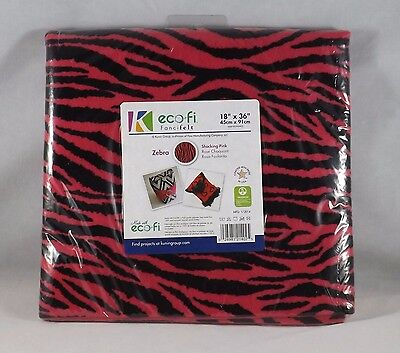 "Kunin Group eco-fi Fancifelt - New - 18"" x 36"" - Pink & Black Zebra"