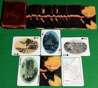 Antique 1923 USPC ** PANAMA ** SOUVENIR Playing Cards Steamship in Canal  S48