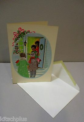 Vtg Christmas Card African American Couple Welcome Guests Front Door Gifts 70s