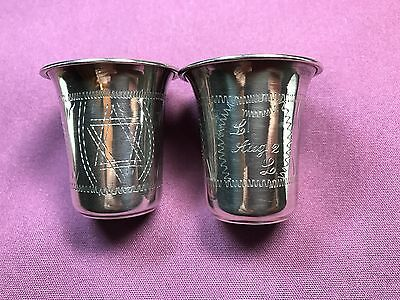 T2: Set of 2 Sterling Silver Jewish Cups