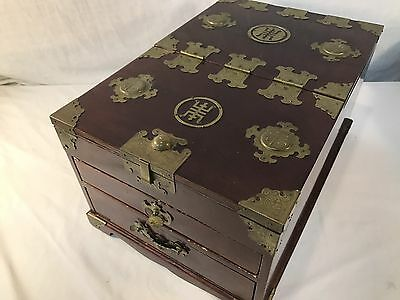 Vintage Korean Jewelry Box Large Ornate Box