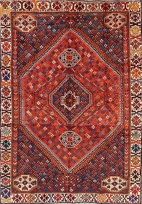 Stunning Geometric Tribal 7x10 Shiraz Persian Oriental Area Rug Wool 9' 6 x 6' 8