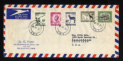 15856-SOUTH EAST AFRICA-AIRMAIL COVER WINDHOEK to COLORADO (usa) 1953.British