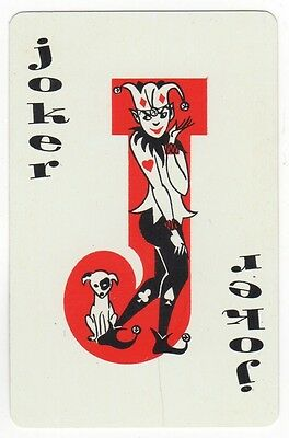 Playing Cards Single Card Vintage JOKER - Young Coy Jester + Puppy Dog