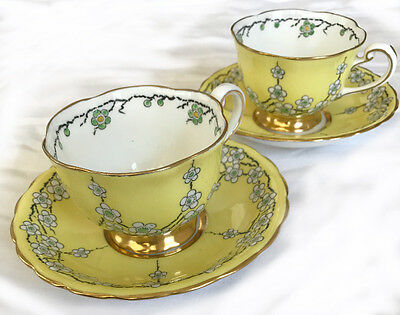 Antique Royal Chelsea Bone China Tea Cup set of 2 Cherry Blossom Saucer Yellow