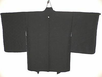 MINT UNUSED, BLACK SILK or BLEND, JAPANESE HAORI KIMONO JACKET, SHIKISHI FLOWERS