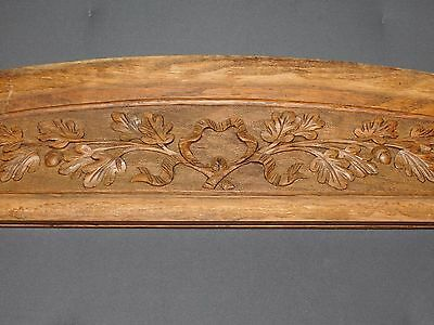 Grand Fronton Ancien En Bois Sculpte Glands Feuilles De Chene Long 130Cm F357