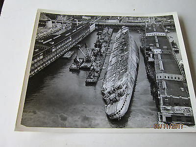 Ss Normandie- French Line- Large Original Photograph -Aerial View At Pier 88 -Ny