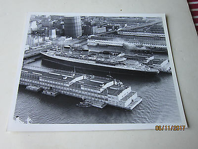 Ss Normandie- French Line- Large Original Photograph -During Lay Up At Pier 88