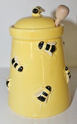 DEPT.56 BUZZ BUMBLE BEE CERAMIC  HONEY POT WITH WOODEN DIPPER - Mint