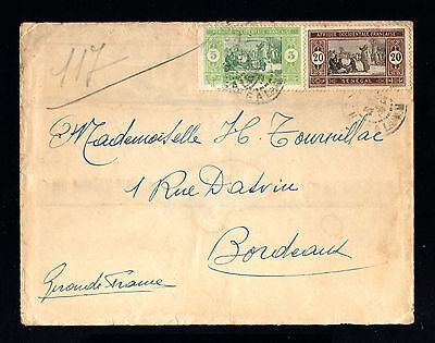 14979-SENEGAL-OLD COVER DAKAR to BORDEAUX (france) 1922.FRENCH colonies