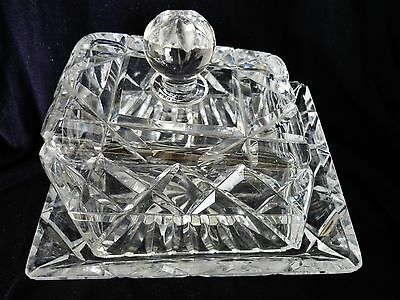 Large Heavy Cut Glass Cheese Dish Base Plate Is 7.inches X 6.1/4 Inches