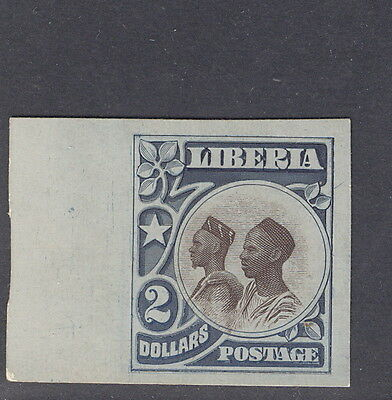 Liberia 1906, $2 natives, IMPERFORATE color trial proof on thin card #112