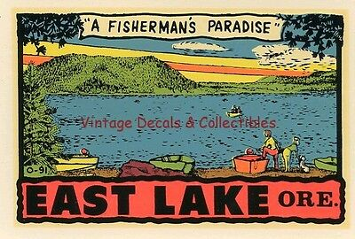 Vintage East Lake Oregon State Souvenir Travel Decal Original 1956 Rare Window