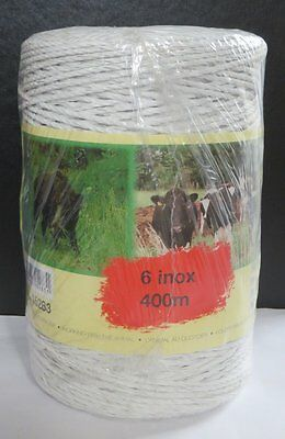 Electric Fence Poly Wire 6 Strand White 400M New Roll Fencing