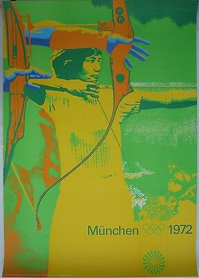 poster - archery - olympic games 1972 Munich München - original - Otl Aicher