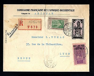 15971-COTE D´IVOIRE-REGISTER.COVER ABIDJAN to FRANCE.1937.WWII.FRENCH coloni.AOF
