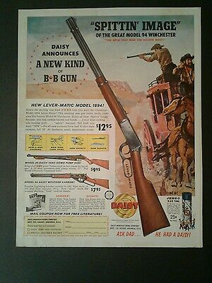 1961 Daisy B B Gun Western Model 94 Winchester Air Rifle Toy Promo AD