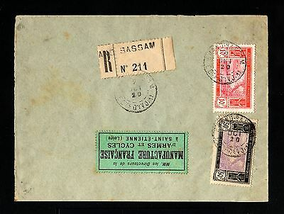 15256-COTE D´IVOIRE-REGISTERED COVER GR.BASSAM to FRANCE.1920.FRENCH colonie.AOF