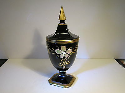 VTG Jet Black Amethyst Glass Candy Dish With Hand Painted Flowers & Gold
