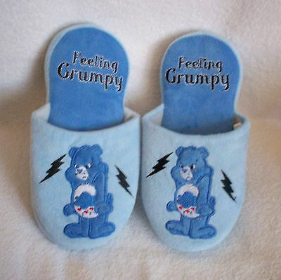 Women's Slippers size Small 5/6 Blue colored Feeling Grumpy Slip on's