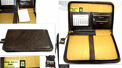 Vintage Cooper # 220125 Organizer Notepad Writing Case Brown Leather