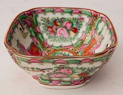 ACF Japanese Porcelain Ware Famille Rose Medallion 4 Sided Bowl 7 1/2""