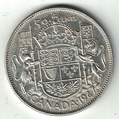 Canada 1947Ml 50 Cents Half Dollar King George Vi Canadian .800 Silver Coin