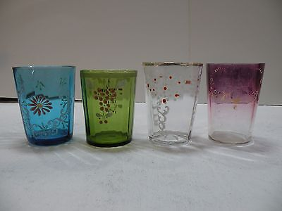 mcz-x LOT OF 4 VICTORIAN ENAMEL GLASS COLORED TUMBLERS antique hand decorated