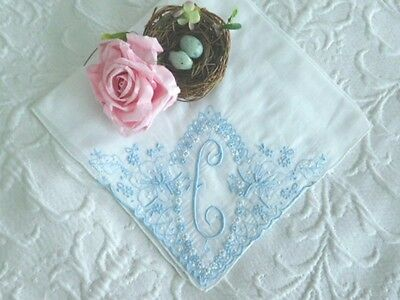 GORGEOUS Elaborate VINTAGE MONOGRAM C Wedding HANKY * Blue EMBROIDERY & APPLIQUE