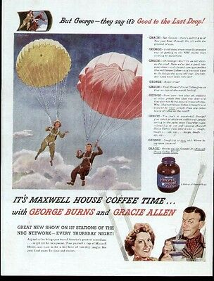 George Burns & Gracie Allen TV & Movie Stars on a great 1946 ad for Maxwell Hous