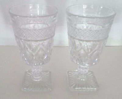 """2 Imperial Glass Ohio CAPE COD CLEAR Water Goblet Glass Stemware - 6.25"""""""