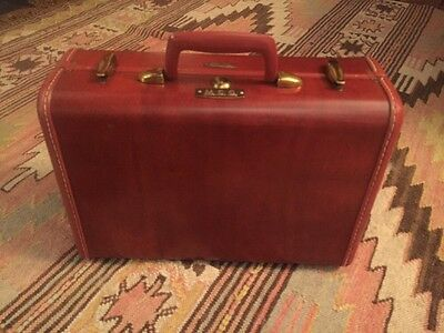 Vintage Samsonite Shwayder Luggage Wood Tone Red Brown Hard shell Denver 15 X 12