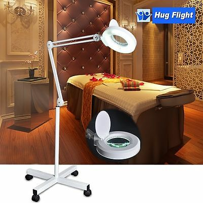 5x Rolling Magnifying Floor Lamp Stand Magnifier Glass Jewelry Facial Adjustable
