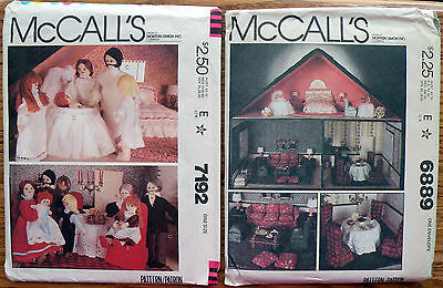Vintage McCall's 6889 7192 Doll House Furniture Doll Family Patterns Uncut