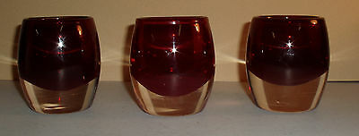 Lot of 3 Crate and Barrel Crystal/Glass Diva Red/Ruby Votive Tealight Holders