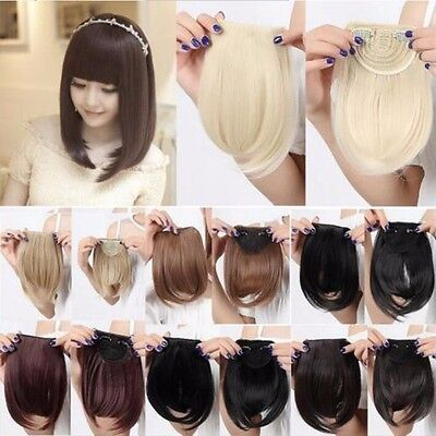 Front Bangs Fringe Piece Clip In Hair Extensions Real Natural Brown Black Blonde