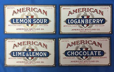 4 c.1930 AMERICAN BOTTLING Co LOGANBERRY Chocolate SODA Bottle Label DOVER NJ