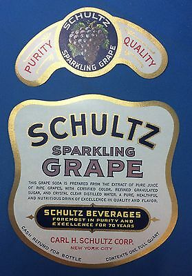Vintage Original SHULTZ GRAPE SODA Bottle Labels New York City