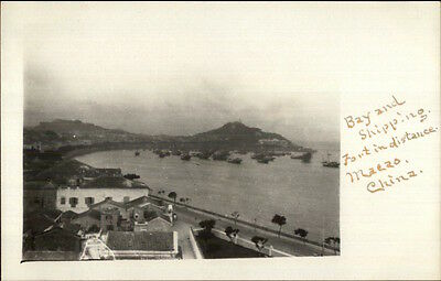 Macau Macao China Bay & Shipping c1910 Real Photo Postcard rtw