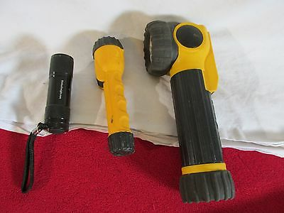 Lot of 3 Flashlights - RayOVac AND 1 Harbor freight  -1 work 2 need batteries