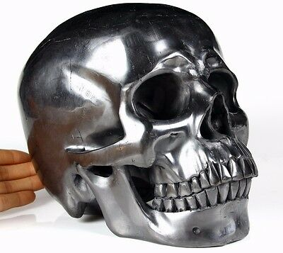 """Giant 8.7"""" JET Carved Crystal Skull, Super Realistic, Healing #475"""
