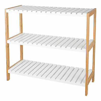 3 Tier MDF Shoe Rack Organiser Natural Bamboo Shoes Storage Unit Shelf Stand