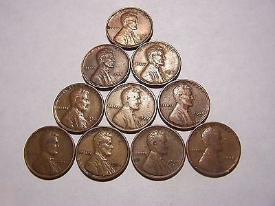 10-Lincoln Wheats 1918 1919-D 1921-S 1924 1926-D 1929 1930-S 1941 1951 1952-S