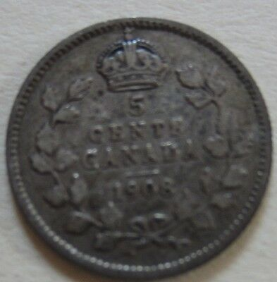 1908 Canada Silver Five Cents Cent Coin. VF KEY DATE NICE GRADE (RJ269)