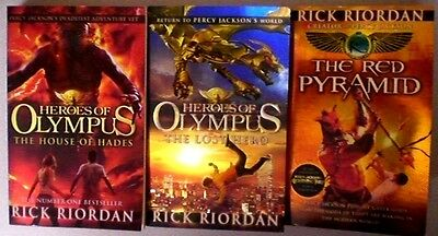 3 x RICK RIORDAN:  HEROES OF OLYMPUS x 2 + RED PYRAMID, VGC Fantasy Bulk Lot