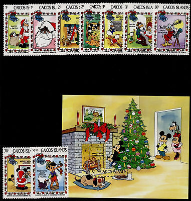 Caicos Islands 22-31 MNH Disney, Christmas, Santa