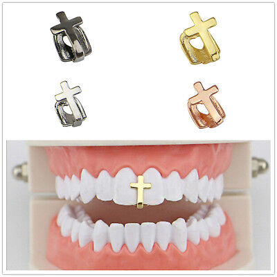 Universal Hip Hop Gold Silver Single Tooth Teeth Grillz Grill Cap Cross Chic