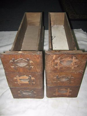A Set of 6 Old Wooden Bamboo Ply Decorated Sewing Machine Drawers